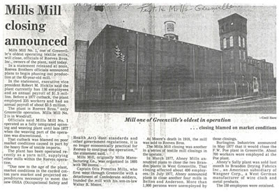 Article on Mill Closing, 1978