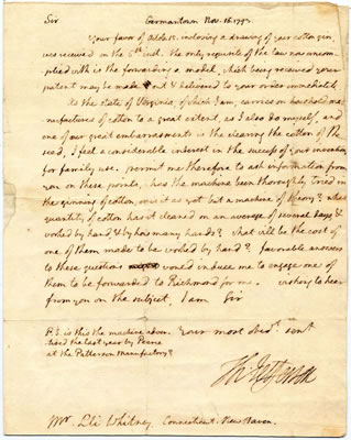 Jefferson to Whitney, 16 Nov 1793