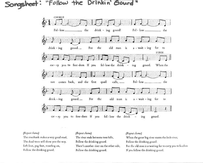 Printables Follow The Drinking Gourd Worksheets follow the drinkin gourd how spirituals helped slaves song sheet